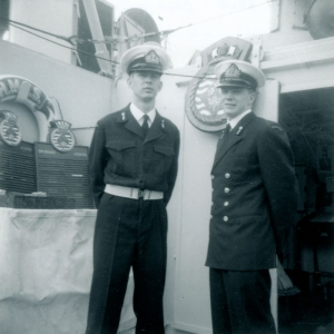 Brow Duty, Second Port Watch, Portsmouth, England, May 19, 1964 Bosun's Mate - Ian Barker, Second Officer of the Watch - Dave Hall.